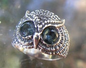 Sterling Silver Owl Ring With Aquamarine Eyes