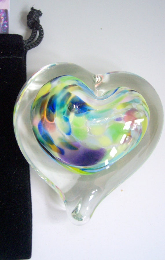 SMALL Glass Heart Paperweight with Pouch by Rebecca Zhukov