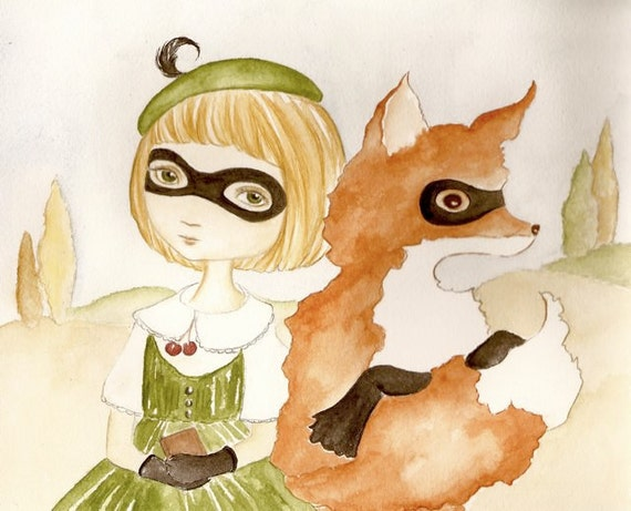 Silent Partners, Fox and Girl original painting