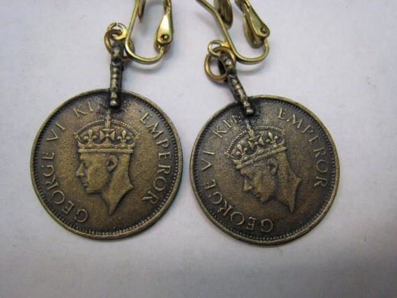Vintage 1940s King George Anna India Long Coin Earrings