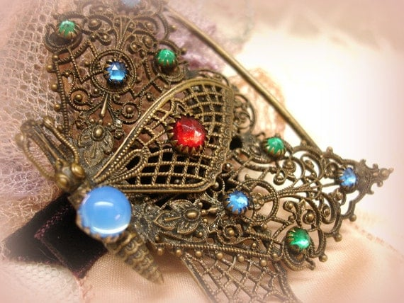 antique edWardian brass and rhineStone buckle half . magnificient size and deTail . brass butterfly with jewel tone rhineStones