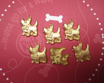 Scotty Dog Charms Pet Charms Brass Findings on Etsy x 6