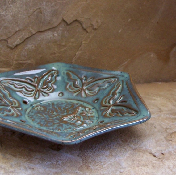 Waterfall Blue Handmade Stoneware Ceramic Pottery Hexagon Candy Nut Dish - Butterfly