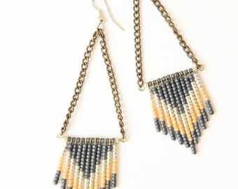 Chevron seed bead earrings - slate blue, terracotta and cream