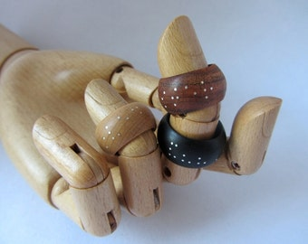 Sterling Wooden Accent Ring - Braille Ring - Wood - Custom