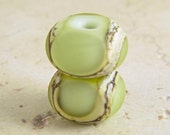 Green Glass Lampwork Bead Pair with Organic Silvered Ivory Web and Frosted Finish Small 11x7mm Pistachio Velvet