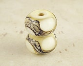 Handmade Glass Lampwork Bead Pair Small Webbed Silvered Ivory 11x7mm Cream