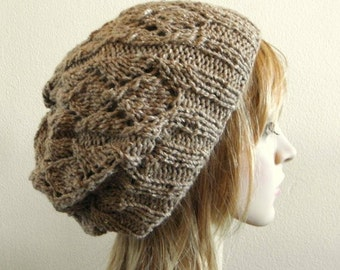 Lacy beret slouchy hat hand knit silk angora in taupe light brown knitted lux softest warm women beanie
