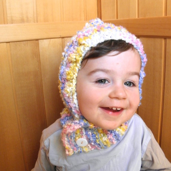 Toddler coverall hat pixie hood hand knit pink cream yellow blueberry baby girl scarflette and hat in one soft warm 1T-2T 12-24 months
