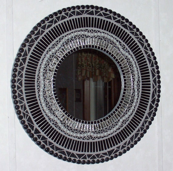 Mosaic Mirror Stained Glass-Mixed Media Black and Silver