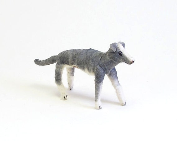 Spun Cotton Vintage Inspired Grey and White Greyhound Dog