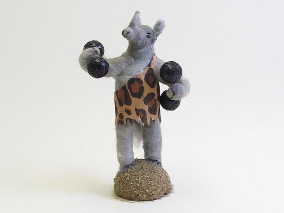 Spun Cotton Vintage Style Zooland Circus Strongman Rhino