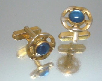 Goldtone Wavy Blue Cufflinks Vintage