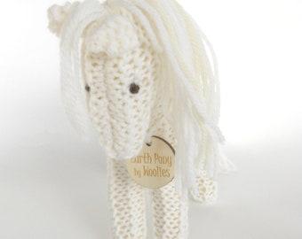 Earth pony, Waldorf Toy Stuffed Animal Horse, hand knit plush wild pony friend Winter White