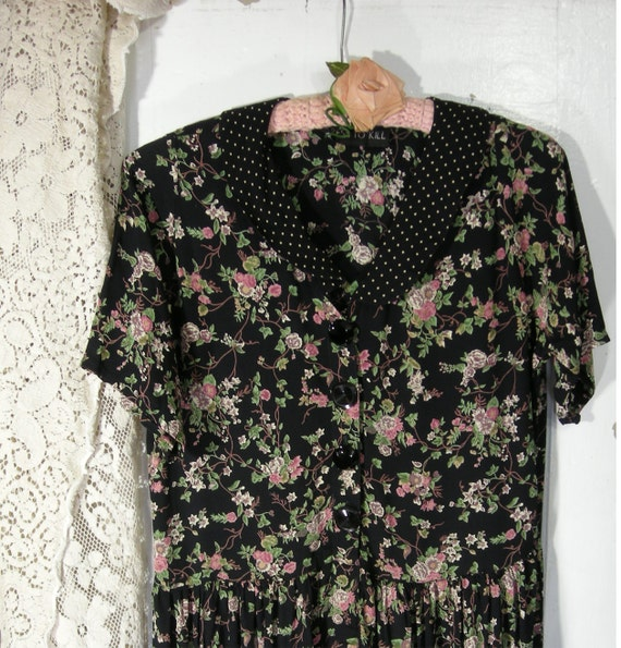 Reserved for JLester - Floral Midi Dress Boho Black with Pink Roses Vintage 80s 90s Boho Grunge