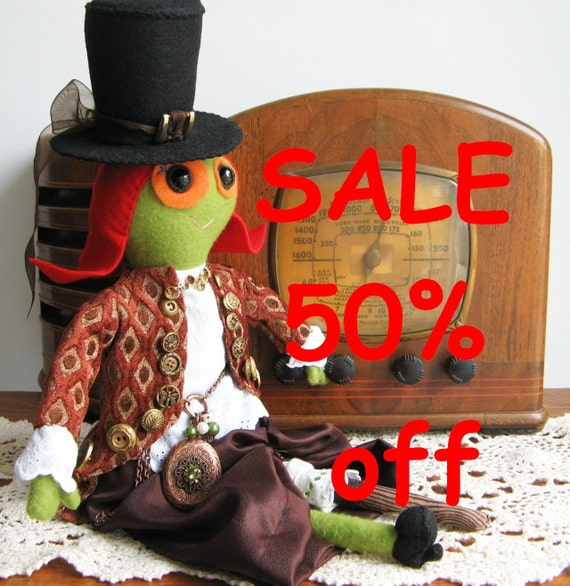 SALE 50% off Steampunk Peg Leg Lady doll