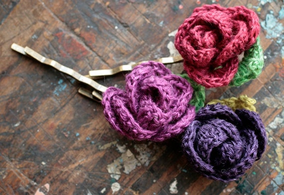 Linen flower hairpins - set of 3