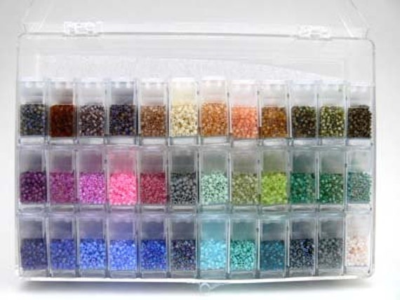 180 gr Miyuki DELICA Mix 11/0 Japanese Seed BEADS in Clear Organizer Storage Box with Flip Top Storage Containers