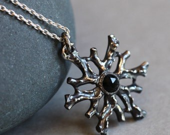 Coral medallion, black onyx and sterling silver pendant, ready to ship