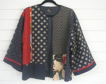 SALE Kimono-Style Jacket, Red and Blue