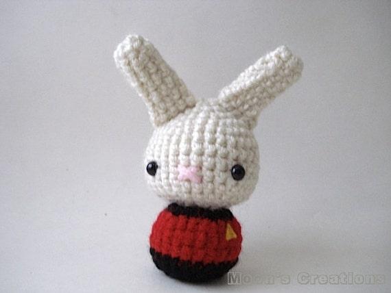 Red Shirt Moon Bun Amigurumi Star Trek Bunny Rabbit