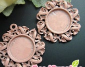 CH-CS-01027 - Art Nouveau Cameo Setting,Round, Dusty pink enameled, 4 pcs