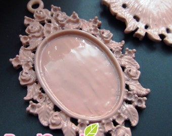 CH-CS-01016 - Dusty pink enameled, Link of Roses Cameo Setting,Oval, (for 25mmx18mm cabochon) 4 pcs