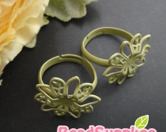 FN-RB-09063- Nickel free 10 petals flower filigree ring (Adjustable), mint, 2 pcs