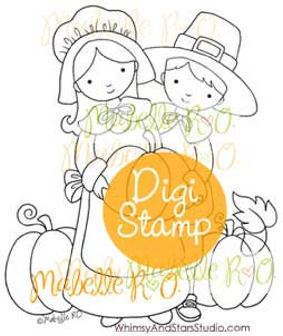 Instant Download Digital Stamp: Pilgrims