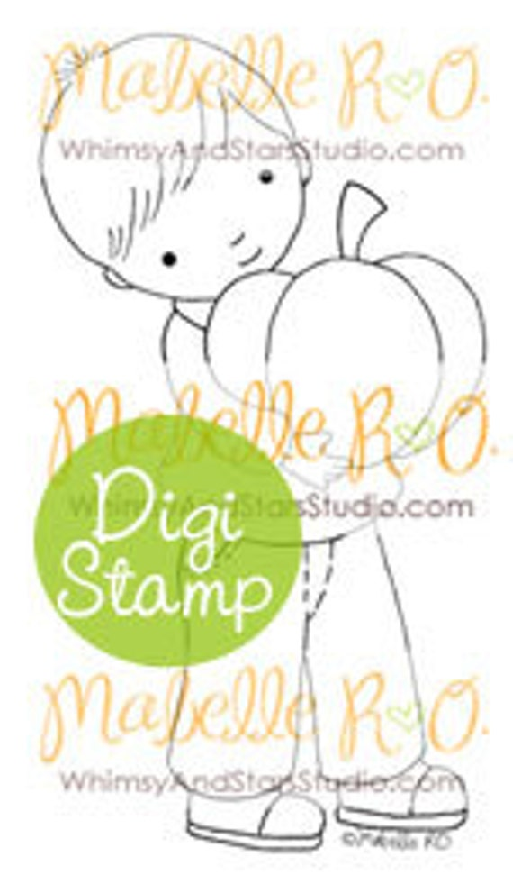 Instant Download Digital Stamp: Alex's Pumpkin