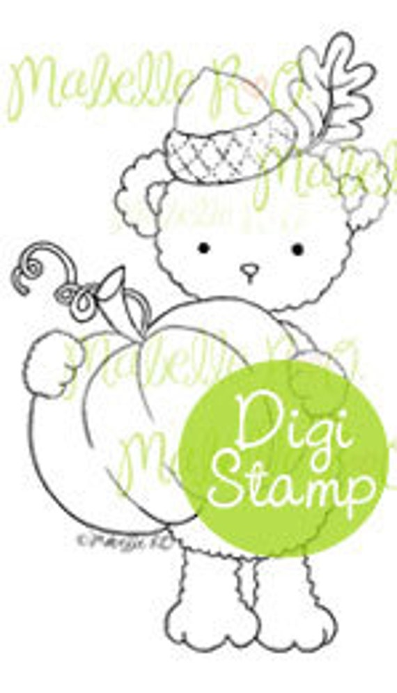 Instant Download Digital Stamp: Acorns Pumpkin Teddy