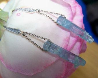 Aquamarine Crystal Druzy,  sterling silver chain, Cz earwire
