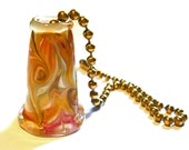Lampwork glass bead ceiling fan pull, amber and pink handmade fob,  SRA, cgge, tt team, leteam
