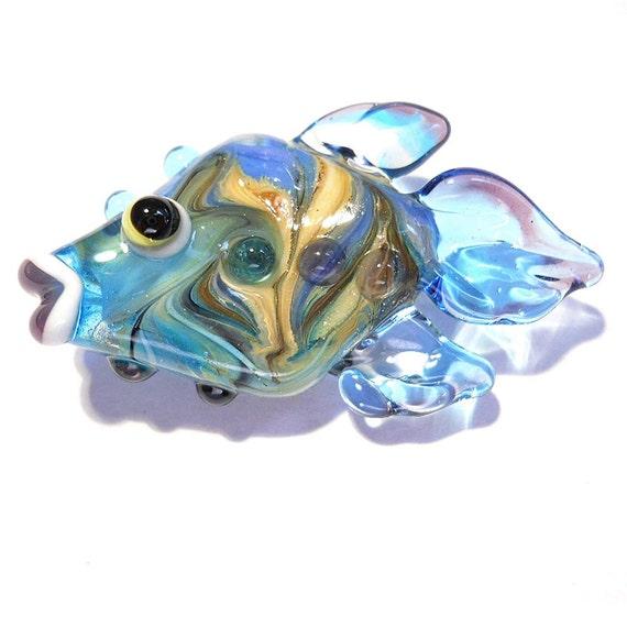 Handmade Lampwork glass beads fish pendant or focal bead, aqua blue twist, CGGE team jewelry,  animal necklace, leteam