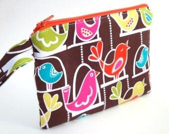 Zippered Wristlet- Bird Swing-Michael Miller Fabric