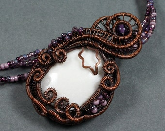 The Grapevine - White Mountain Jade, Purple Glass, and Copper Statement  Necklace - CLEARANCE
