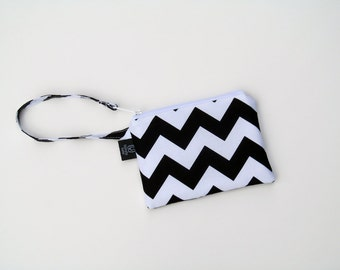 New Black Chevron Wristlets  Ready to ship cell phone, iphone, camera gadget bag