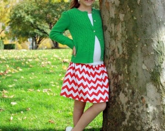 toddler girls  tweens skirts Boutique Cherry Red chevron  2 Toddler - 12 Youth By K Bella Bambino