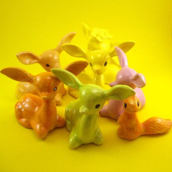 7 Deer and squirrel figurines destash LOT