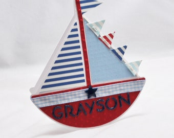 Personalized Sailboat Card - Invitation-  Baby Announcement