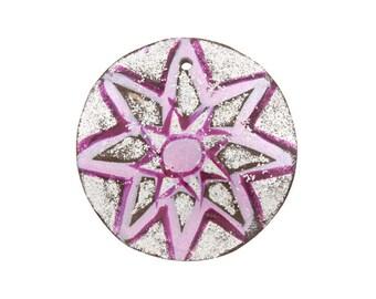 35mm Hand-Painted Flower Design Coconut Pendant - 2 pendants -1600-02