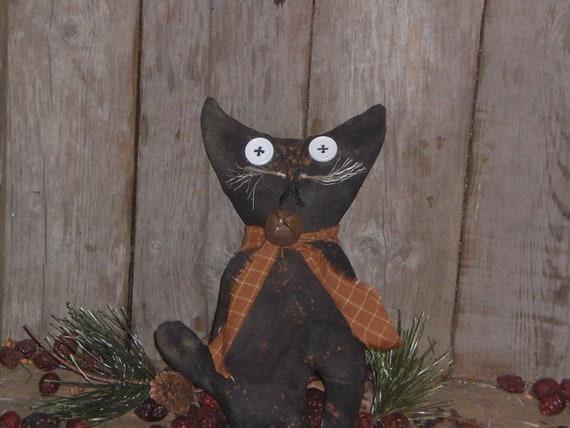 Primitive Grungy Halloween Spooky Black Kitty Cat Bowl Filler Ornie Ornament Shelf Sitter Tuck Doll