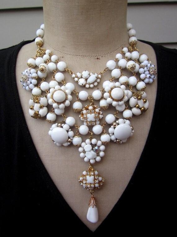 Vintage Milk Glass Wedding Bib Statement Necklace - Duchess