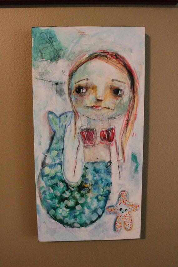 mermaid, raw art, mixed media - OCEAN QUEEN - reserved for JenniD