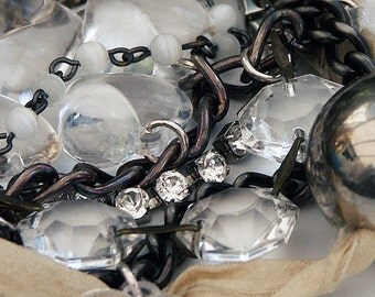 Bracelet, Wrap Bracelet, Charm Bracelet, Silver Charm Bracelet, Heart  'MISS HAVISHAM' Crystal and Vintage Silk