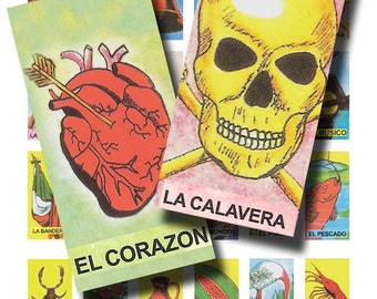 mexican lottery cards,  juego de loteria,  1x2 inch  digital collage sheet no. 74