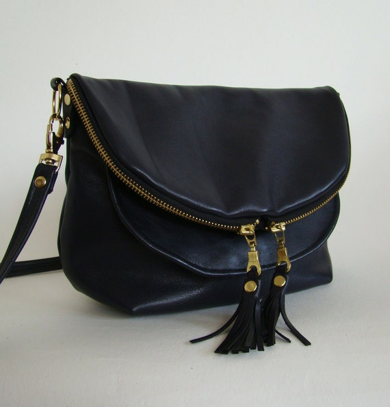 RESERVED Anthracite Leather Mini Fold over Day Traveler, small black leather convertible cross body or shoulder bag