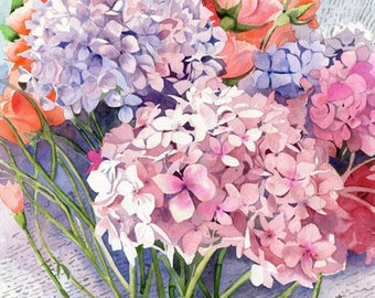 Original Flower Hydrangea Floral Garden  Art watercolor painting