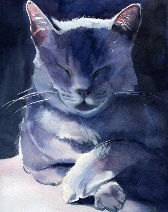 Blue Russian Cat Watercolour Paintings