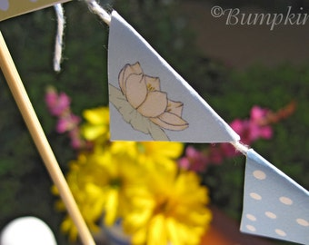 Little Duckling's Party - Mini Bunting - printable PDF blue version